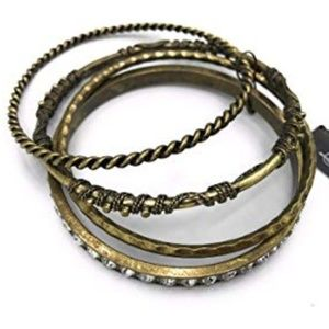 NWT Gold Bangle Bracelets With Crystals